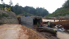 Culvert construction at highway project Royalty Free Stock Photography