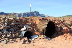 Culvert in Nevada Desert Wash Royalty Free Stock Photo