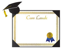 Cum Laude College Diploma with cap and tassel Stock Photography