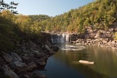 Cumberland Falls. Wide view of Cumberland falls in Kentucky.  This waterfall  is located near the city of Corbin in Cumberland falls state park.  For scale you Royalty Free Stock Photo
