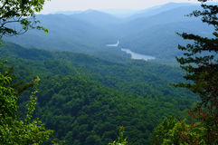 Cumberland Gap view. View from Cumberland Gap of Fern Lake Tennessee and the place (foreground ridge) where three states meet: Virginia, Tennessee, and Kentucky Stock Image