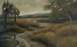 Cumberland Island. Painting by me of a scene on Cumberland Island, Ga., USA Stock Image