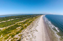 Cumberland Island Seashore. Looking North on Cumberland Island with Atlantic Ocean on the right. Photo was taken with aerial vehicle at approx. 70 feet Stock Photography