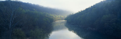 Cumberland River,. Morning fog on Cumberland River, Kentucky royalty free stock images