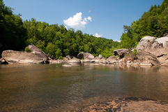 Cumberland River. Boulders line the banks of the Cumberland River Stock Images