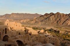 Kharanaq mud-brick village on the Silk Road. Iran. Cumbling mud-brick, ruins village of Kharanaq, Silk Road Yazd, Iran royalty free stock images
