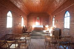 Interior of the small Anglican Church in the town of Cumborah royalty free stock photography