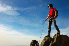 Cumbre del escalador Imágenes de archivo libres de regalías