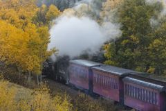 Cumbres &托尔特克风景蒸汽火车,Chama,安东尼的新墨西哥 免版税库存图片