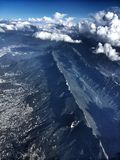 Cumbres de Monterrey. Awesome formations in this range of mountains, shot from the sky while flying high royalty free stock photo