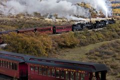 Cumbres & Toltec Scenic Steam Train, Chama, New Mexico to Antonito, Colorado over Cumbress Pass 10,015 Elevation royalty free stock photos