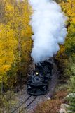 Cumbres & Toltec Scenic Steam Train, Chama, New Mexico to Antonito, Colorado over Cumbress Pass 10,015 Elevation. OCTOBER 9, 2018 - New Mexico, USA - Cumbres & royalty free stock images