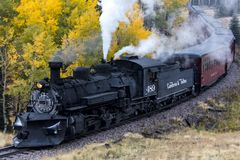 Cumbres & Toltec Scenic Steam Train, Chama, New Mexico to Antonito, Colorado over Cumbress Pass 10,015 Elevation. OCTOBER 9, 2018 - New Mexico, USA - Cumbres & royalty free stock photo