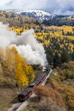Cumbres & Toltec Scenic Steam Train, Chama, New Mexico to Antonito, Colorado over Cumbress Pass 10,015 Elevation. OCTOBER 9, 2018 - New Mexico, USA - Cumbres & royalty free stock photography