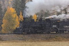 Cumbres & Toltec Scenic Steam Train, Chama, New Mexico to Antonito, Colorado over Cumbress Pass 10,015 Elevation. OCTOBER 9, 2018 - New Mexico, USA - Cumbres & royalty free stock image