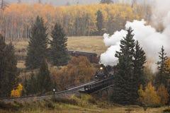 Cumbres & Toltec Scenic Steam Train, Chama, New Mexico to Antonito, Colorado over Cumbress Pass 10,015 Elevation stock image