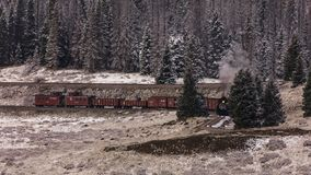 Cumbres & Toltec Scenic Steam Train, Chama, New Mexico to Antonito, Colorado over Cumbress Pass 10,015 Elevation royalty free stock images
