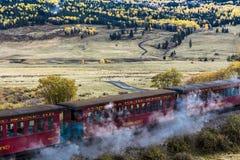 Cumbres & Toltec Scenic Steam Train, Chama, New Mexico to Antonito, Colorado over Cumbress Pass 10,015 Elevation. OCTOBER 9, 2018 - New Mexico, USA - Cumbres & stock photos