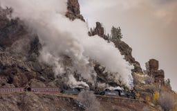 Cumbres & Toltec Scenic Steam Train, Chama, New Mexico to Antonito, Colorado over Cumbress Pass 10,015 Elevation royalty free stock photo