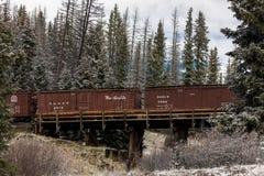 Cumbres & Toltec Scenic Steam Train, Chama, New Mexico to Antonito, Colorado over Cumbress Pass 10,015 Elevation. OCTOBER 9, 2018 - New Mexico, USA - Cumbres & stock photo