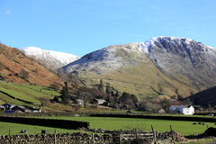 遥远的Cumbria的Hartsop村庄 库存照片