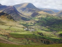 Cumbrian Farm. The view down from Catbells onto Little Town stock photography