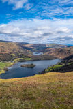 Cumbrian landscape. Grasmere and Rydal Water from from Silver Howe Cumbria English Lake District Royalty Free Stock Photography