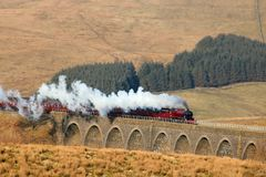 Cumbrian Mountain Express Dandry Mire Viaduct. Preserved steam train 45699 Galatea with the Cumbrian Mountain Express on the famous Settle to Carlisle railway Royalty Free Stock Images