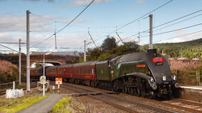 Cumbrian Mountain Express. Preserved steam locomotive 60009 Union of South Africa heads southbound through Penrith station in Cumbria on September 14, 2013, on Stock Photos