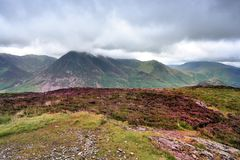Cumbrian Mountains from Melbreak. Low storm clouds over Grasmoor fells Stock Photos