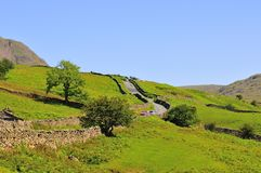 Cumbrian narrow roadway. A typical Cumbrian road,built very narrow with passing places. Known localy as 'The Struggle Stock Image
