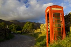 Cumbrian rural road and phone Royalty Free Stock Images
