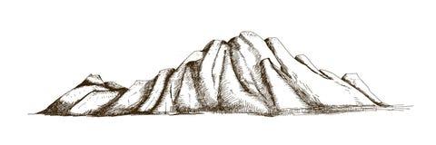 Cume da montanha ou mão da escala tirada com linhas de contorno no fundo branco Desenho elegante do vintage do penhasco rochoso o ilustração do vetor