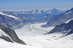 Cumes de Mont Blanc da geleira Fotos de Stock Royalty Free