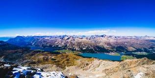 Cumes do lago e do suíço Sils da opinião do panorama Imagem de Stock Royalty Free