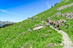 Cumes suíços na temporada de verão Trekking no cume montanhoso imagem de stock