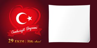 Cumhuriyet Bayrami, 29 ekim kutlu olsun, Republic Day Turkey vector poster. 29 october Republic Day Turkey and the National Day in Turkey 95 years, happy holiday vector illustration