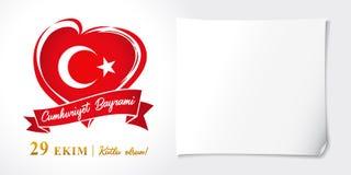 Cumhuriyet Bayrami, 29 ekimkutlu olsun, van de Dagturkije van de Republiek de vectoraffiche royalty-vrije illustratie