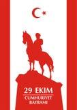 Cumhuriyet Turkiye greeting. 29 Ekim Cumhuriyet Bayrami. Greeting card Republic Day in Turkey 29 October with the image of the equestrian statue of Mustafa Kemal Stock Image