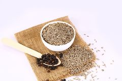 Cumin and Black Pepper, Indian Spices.  stock images