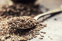Cumin.Caraway seeds on wooden table. Cumin in vintage bronze bowl and spoon Stock Images
