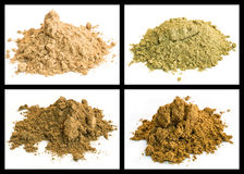 Cumin, galangal root, kummel, nutmeg Stock Photos