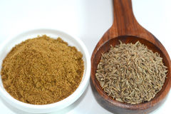Cumin Seed. Closeup view of cumin seed and cumin powder Stock Images