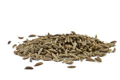 Cumin seeds. Close-up of cumin seeds on white background Royalty Free Stock Image