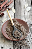 Cumin. Seeds in a brown plate on a rustic wooden background Stock Photography