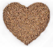 Cumin seeds in the form of heart on a white Royalty Free Stock Photos