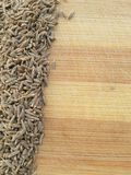Cumin seeds line on wooden background Stock Photos