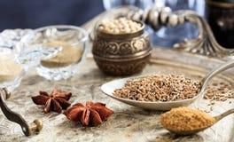 Cumin seeds and powder Royalty Free Stock Photos