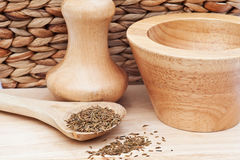 Cumin Seeds in rustic kitchen scene Stock Photos