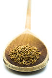 Cumin seeds in a spoon. Cumin seeds in a wooden spoon on a white background Stock Photo